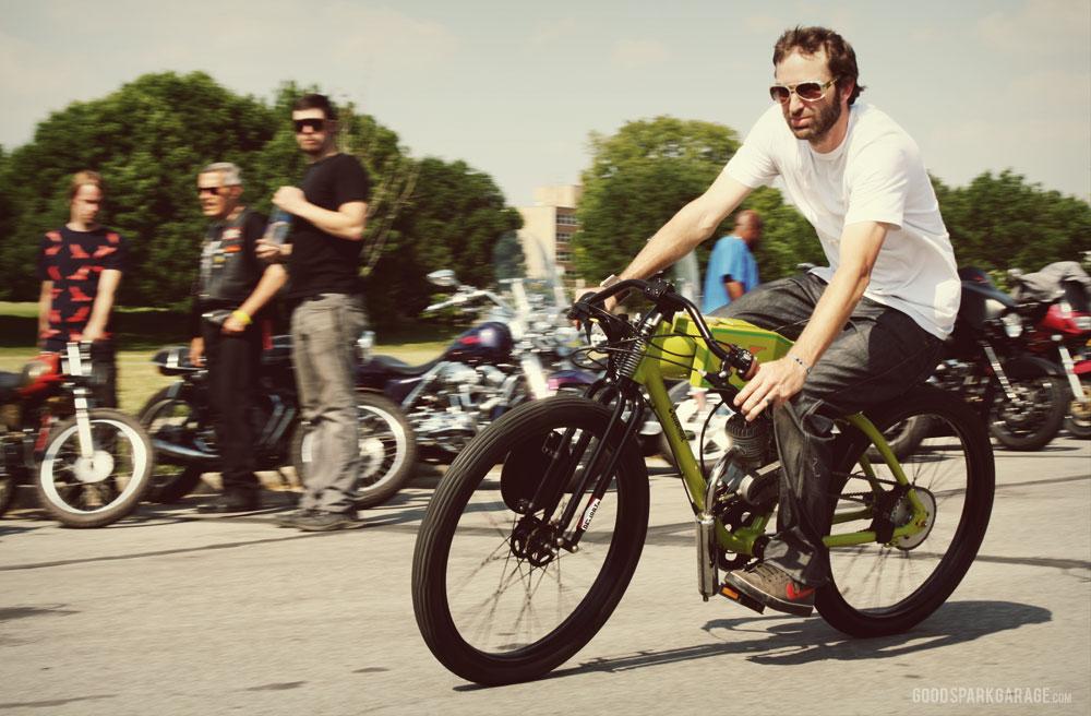 Brendan Fox riding a National Moto custom.