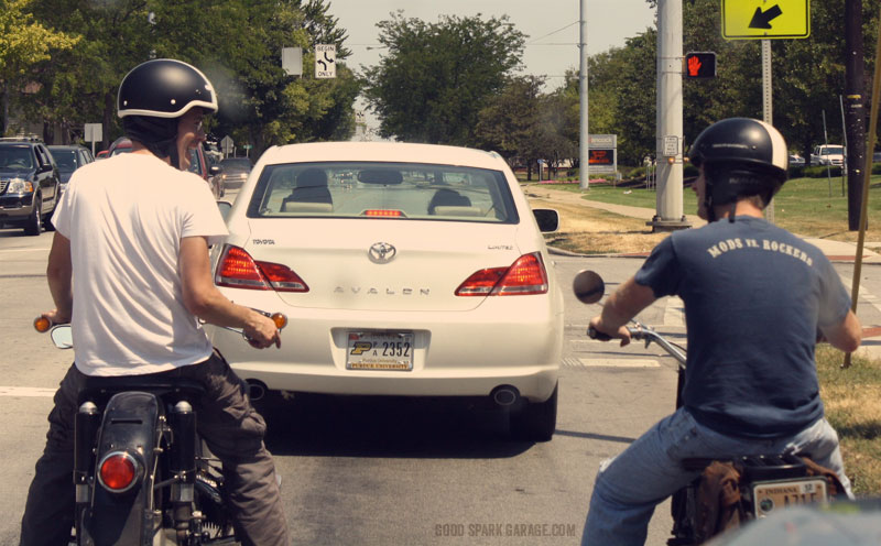 Chris and Corey riding to lunch.