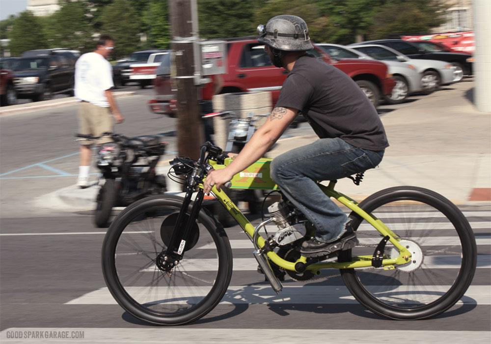 Matty Bennett riding a National Moto custom.