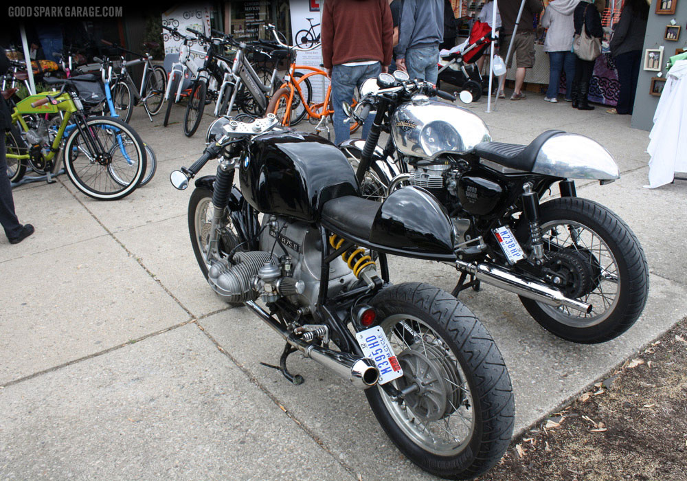 The Wilkinson Bros cafe racers outside National Moto+Cycle Co.