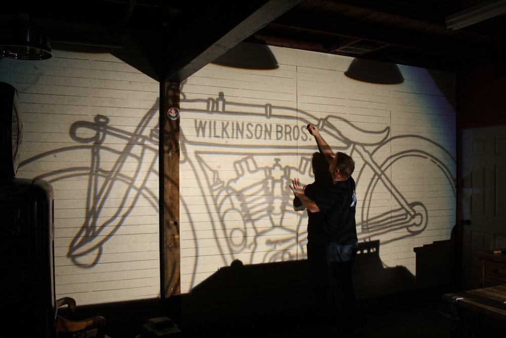 motorcycle mural for the studio wilkinson brothers graphic design