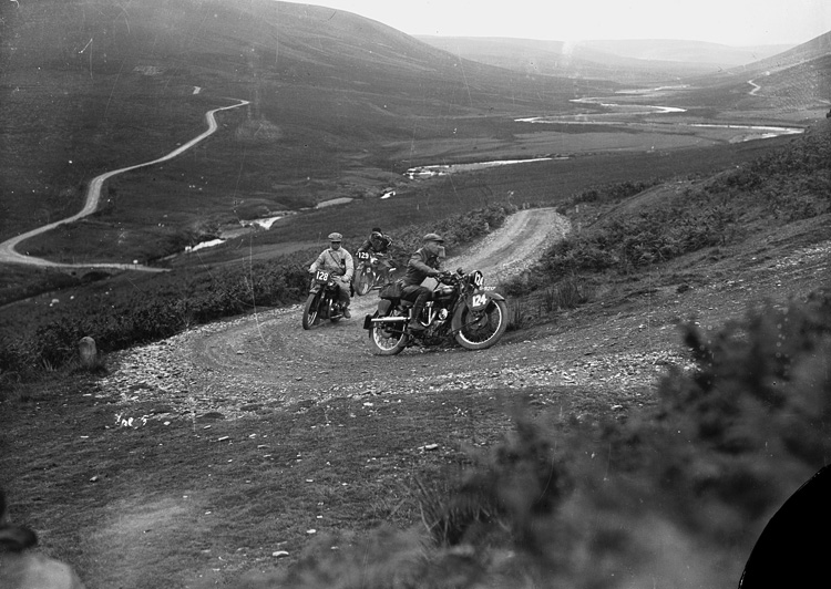 Motorcycle racing in Rhayader on the old road to Aberystwyth