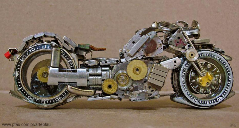 Jose Pfau : Watch Motorcycle Sculpture