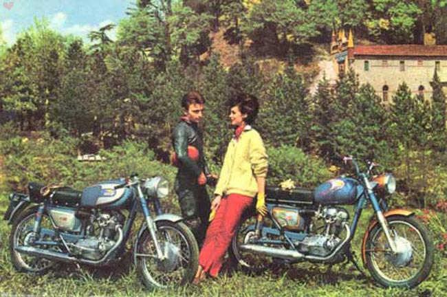 vintage motorcycle couple ducati
