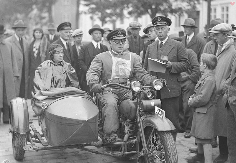 vintage motorcycle couple norway