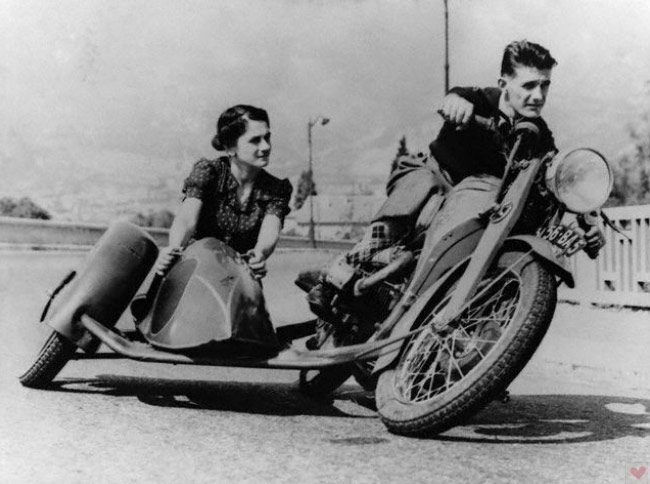 vintage motorcycle leaning sidecar