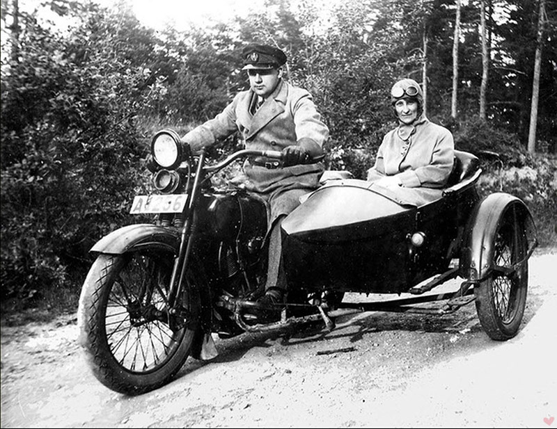 vintage motorcycle sidecar couple