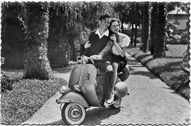 vintage vespa couple