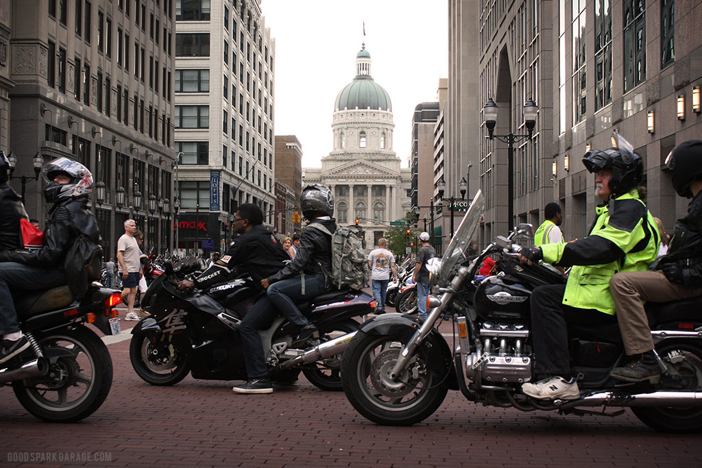 Motorcycles On Meridian Indianapolis State Capitol