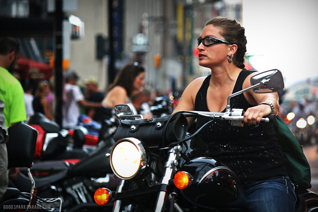 Motorcycles On Meridian Indianapolis Biker Lady
