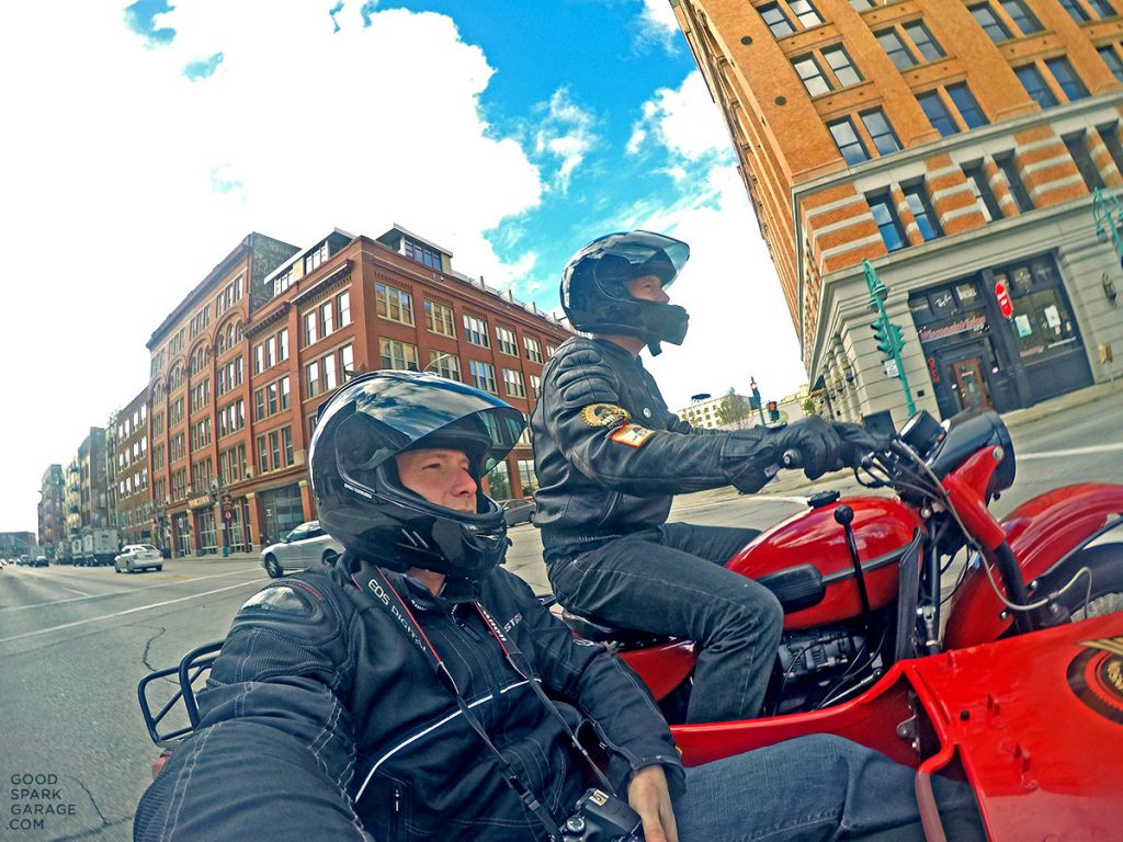 Riding through Milwaukee on the RO Ural
